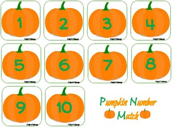 Pumpkin Number Match- Numbers