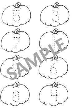 Pumpkin Number Match Worksheet 1-8