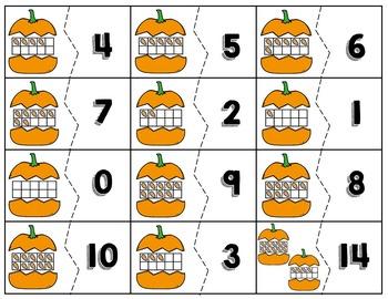 Pumpkin Number Match with Tens Frames