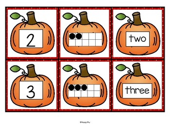 Pumpkin Theme Numbers Cards  - Numeral, 10-frame, Number Name FREE