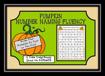 Pumpkin Number Naming Fluency AIMSWEB 0-10