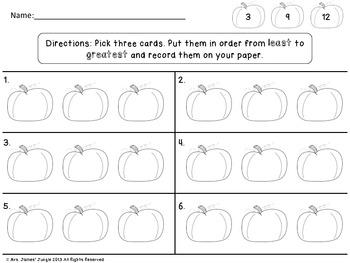Pumpkin Number Order