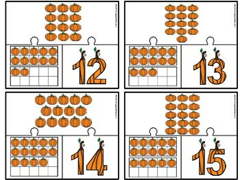 Pumpkin Number Puzzles:  LOW PREP Ten Frame and Counting Themed Puzzles