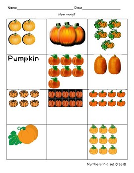 Pumpkin Number Quantity 0-10