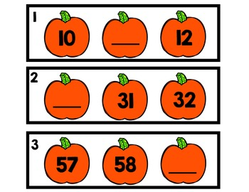 Pumpkin Number Sequencing 1 -100