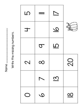 Pumpkin Number Writing, Order, and Identification