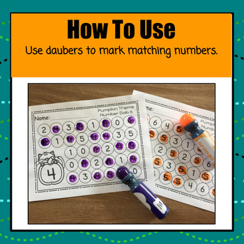 Pumpkin Numbers 0 - 25 Dab It Worksheets - S
