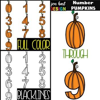 Numbers Clipart Pumpkins -NumberPUMPKINS