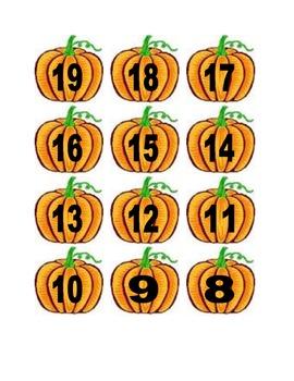 Pumpkin Numbers for Calendar or Math Activity