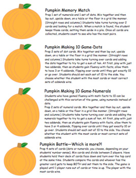 Pumpkin Numeral Cards: Making 10, Comparing Numbers, Recognition Skills & More