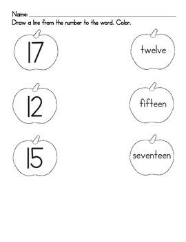 Pumpkin Numerals Worksheet 2