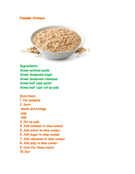 Pumpkin Oatmeal Recipe Controlled Text Easy Reader