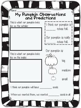 Pumpkin Observations and Predictions Record Sheet