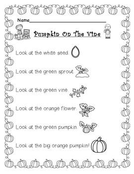 Pumpkin On The Vine-Reading Sheet