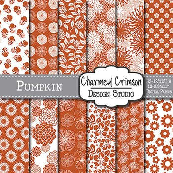 Pumpkin Orange Floral Digital Paper 1482