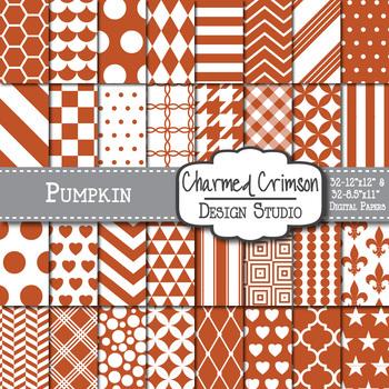 Pumpkin Orange Geometric Basic Digital Paper 1144