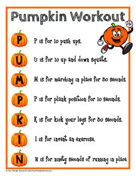 Pumpkin Packet - Indoor Recess, Brain Break or Warm Ups