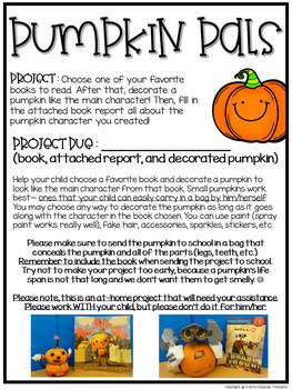 Pumpkin Pal Project- Pumpkin Decorating with Report, Rubric, and more!