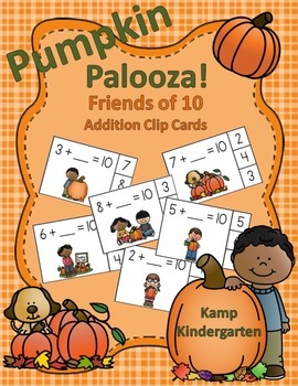 Pumpkin Palooza Friends of 10 Addition Clip Cards
