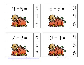 Pumpkin Palooza Subtraction Math Centers (Minuends to 10)
