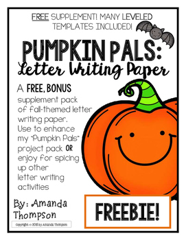 Pumpkin Pals: Letter Writing Paper- Fall- themed! *FREEBIE*