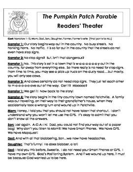 Pumpkin Parable Readers' Theater and Activity