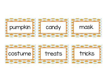 Halloween Pumpkin Parts of Speech Sort