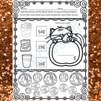 """Pumpkin Party """"Counting Money"""" (Money Worksheets)"""