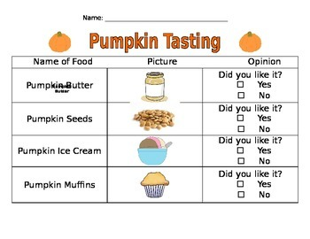 Pumpkin Party- Tasting Activity