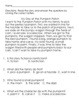 Pumpkin Passages and Sentence Sorts