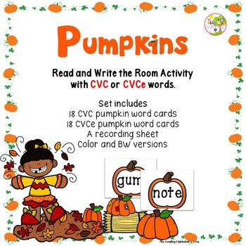 Pumpkin Patch - A CVC and CVCe Read and Write The Room Activity