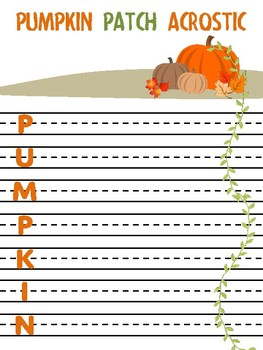 Pumpkin Patch Acrostic for Fall Writing