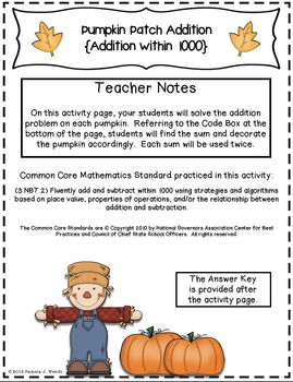 Pumpkin Patch Addition - Fall Theme CCSS Addition within 1000 Activity