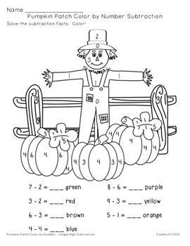 Pumpkin Patch Addition and Subtraction Color by Number