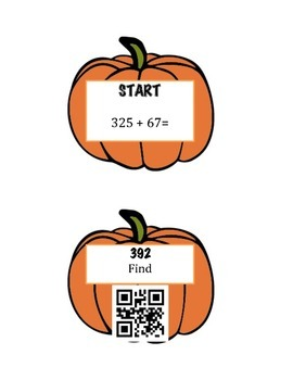 Pumpkin Patch Addition and Subtraction With Regrouping Review: QR Code Hunt