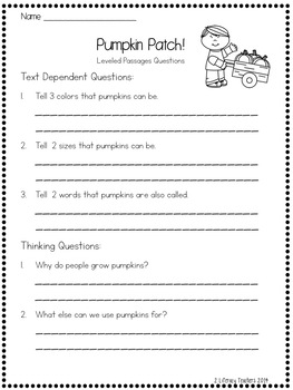 Pumpkin Patch: CCSS Aligned Leveled Reading Passages and Activities