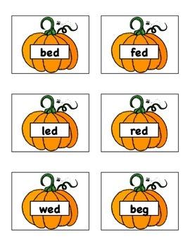 Pumpkin Patch Short Vowel Word Reading Game- CVC short 'e'