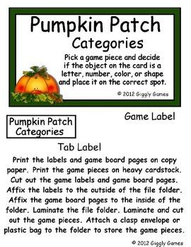 Pumpkin Patch Categorizing File Folder Game
