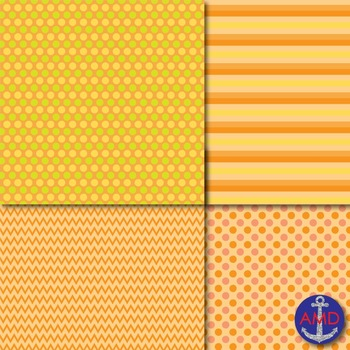 Pumpkin Patch Chevron, Polka Dot & Striped Paper Pack
