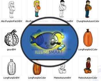 Pumpkin Patch Clip-Art: 26 pc. BW/Color!