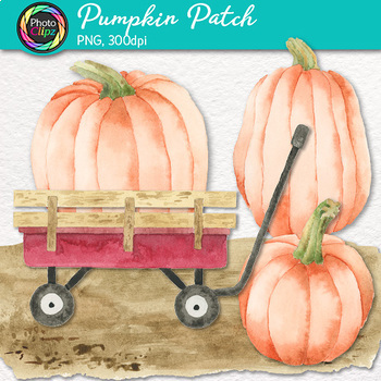 Pumpkin Patch Clip Art {Watercolor Graphics for Autumn Harvest and Halloween}