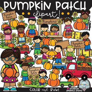 Pumpkin Patch Clipart {pumpkin kids clipart}