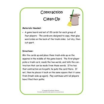Contraction Clean-Up Game Freebie!