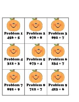 Pumpkin Patch Division Task Cards