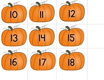 Pumpkin Patch Fall Themed Math Center Kindergarten Common Core Aligned