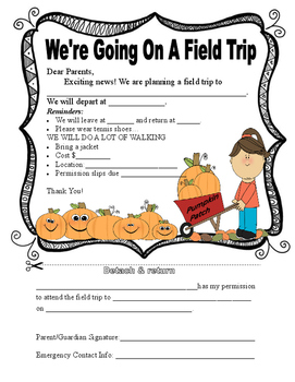 Pumpkin Patch Field Trip Form