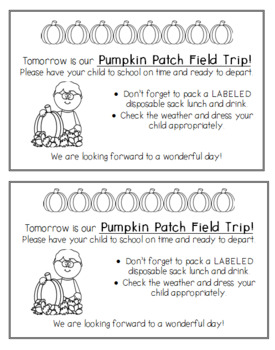 Pumpkin Patch Field Trip Letter Parent Reminder Worksheets