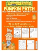 Pumpkin Patch Field Trip Organization and Worksheet Packet