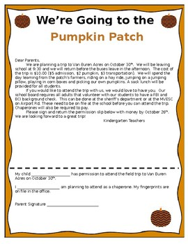 Field Trip Letter Home from ecdn.teacherspayteachers.com