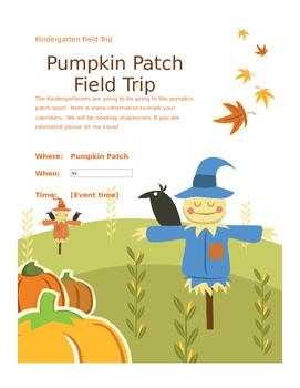 Pumpkin Patch Field Trip Reminder